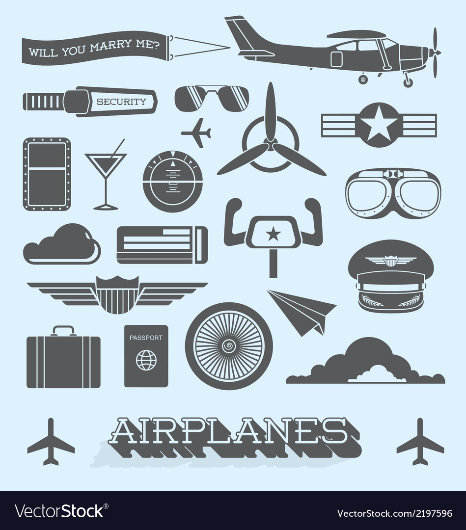 Airplanes and flight icons and objects vector | Price: 1 Credit (USD $1)