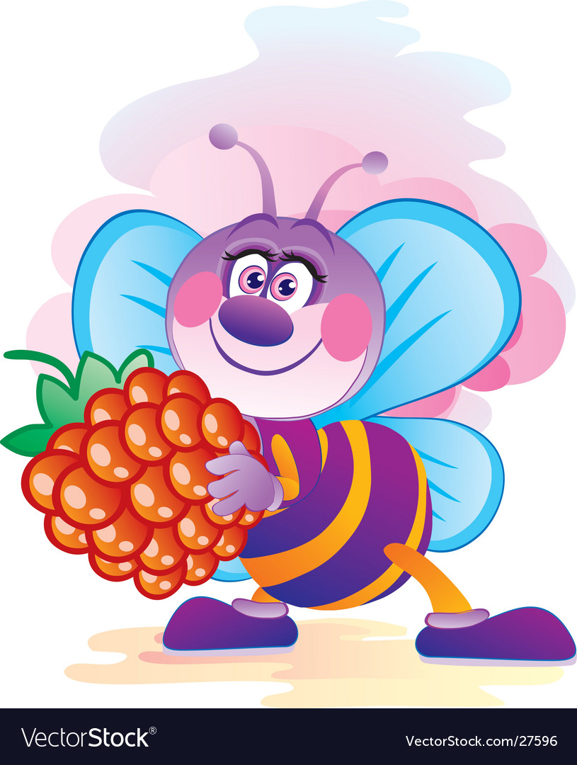 Bee with a berry vector   Price: 1 Credit (USD $1)