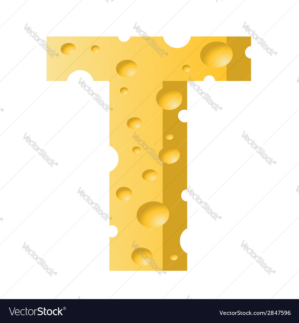 Cheese letter t vector | Price: 1 Credit (USD $1)