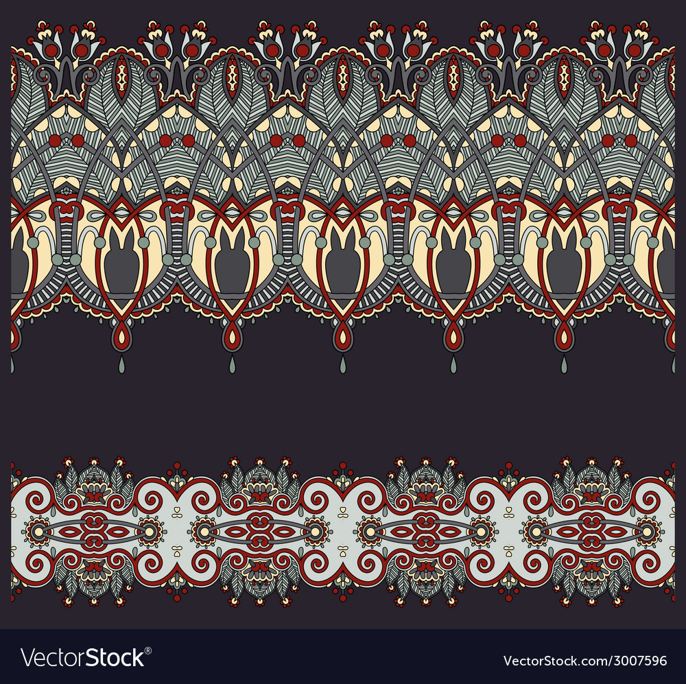 Collection of seamless ornamental floral stripes vector   Price: 1 Credit (USD $1)