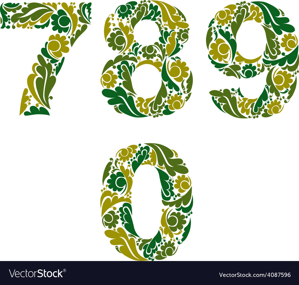Spring style digits set numbers with eco floral vector | Price: 1 Credit (USD $1)