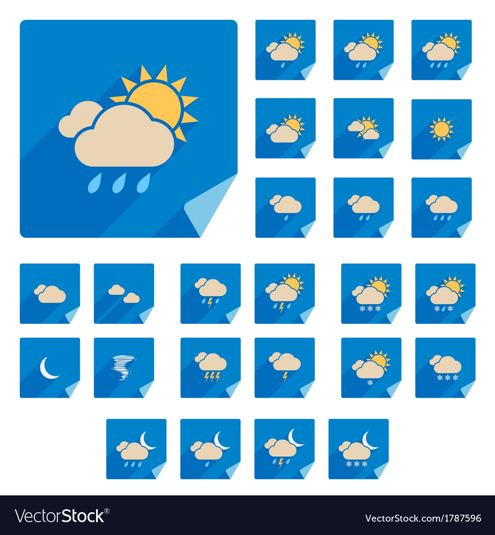 Trendy flat weather icon set with long shadow vector | Price: 1 Credit (USD $1)