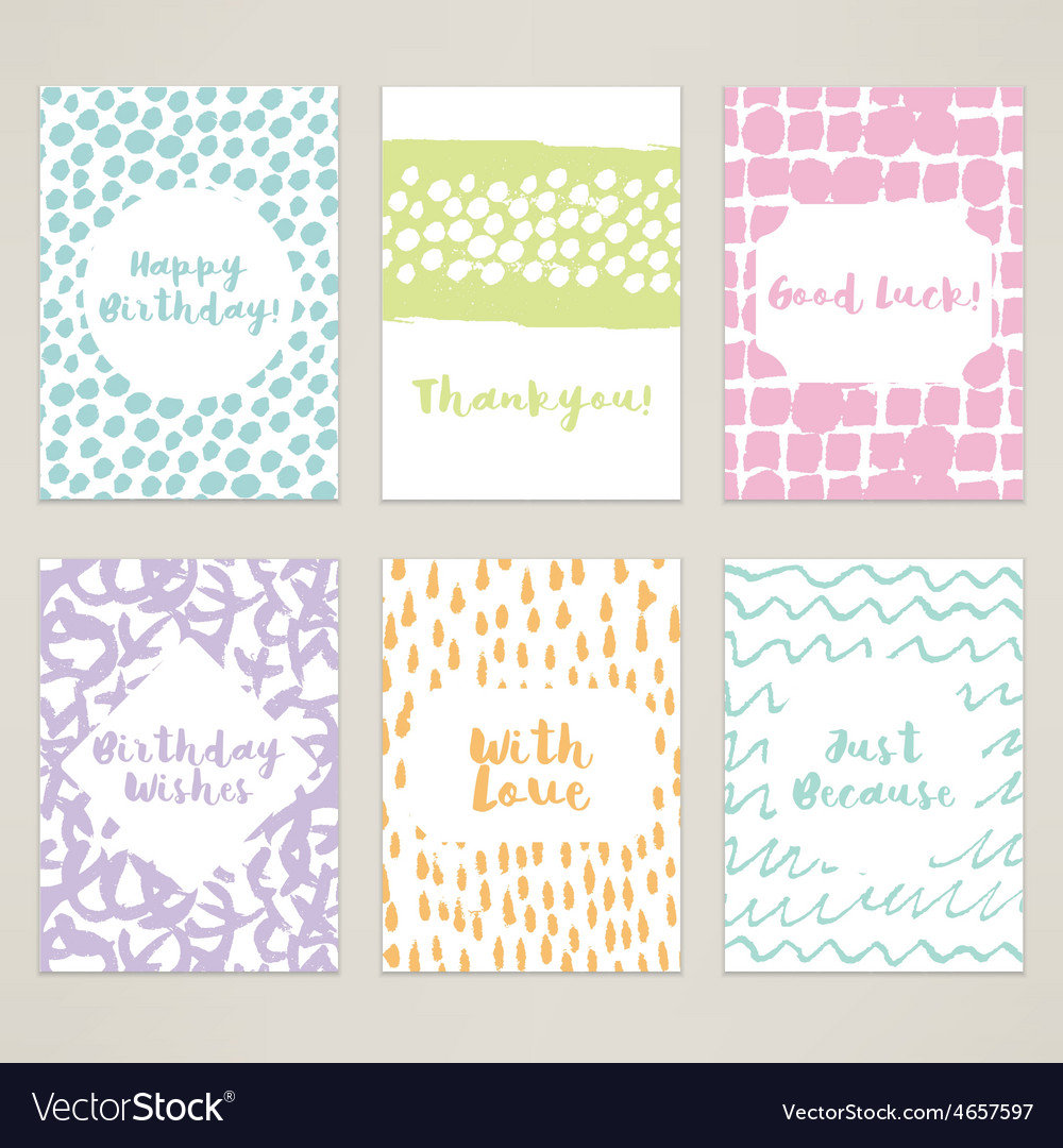 A set of 6 hand-painted minimal cards vector | Price: 1 Credit (USD $1)