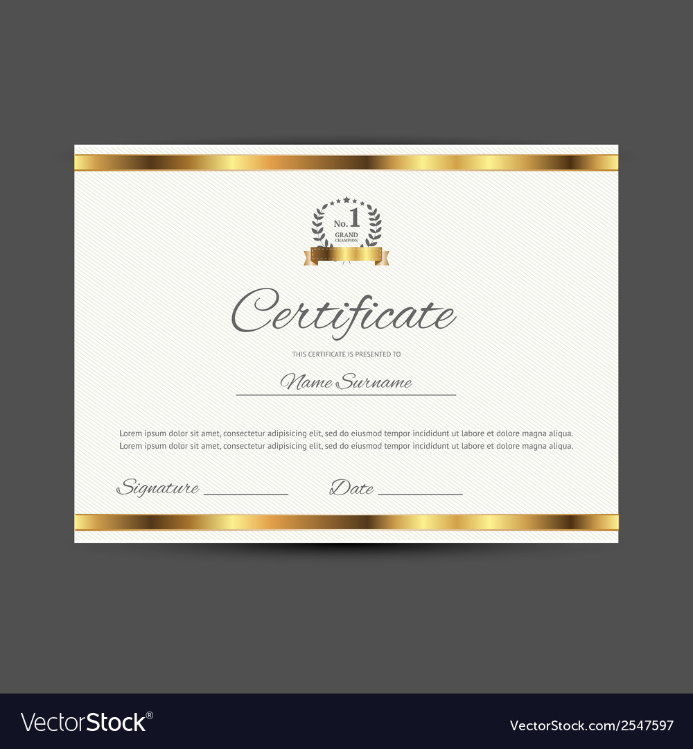 Certificate with golden elements vector | Price: 1 Credit (USD $1)