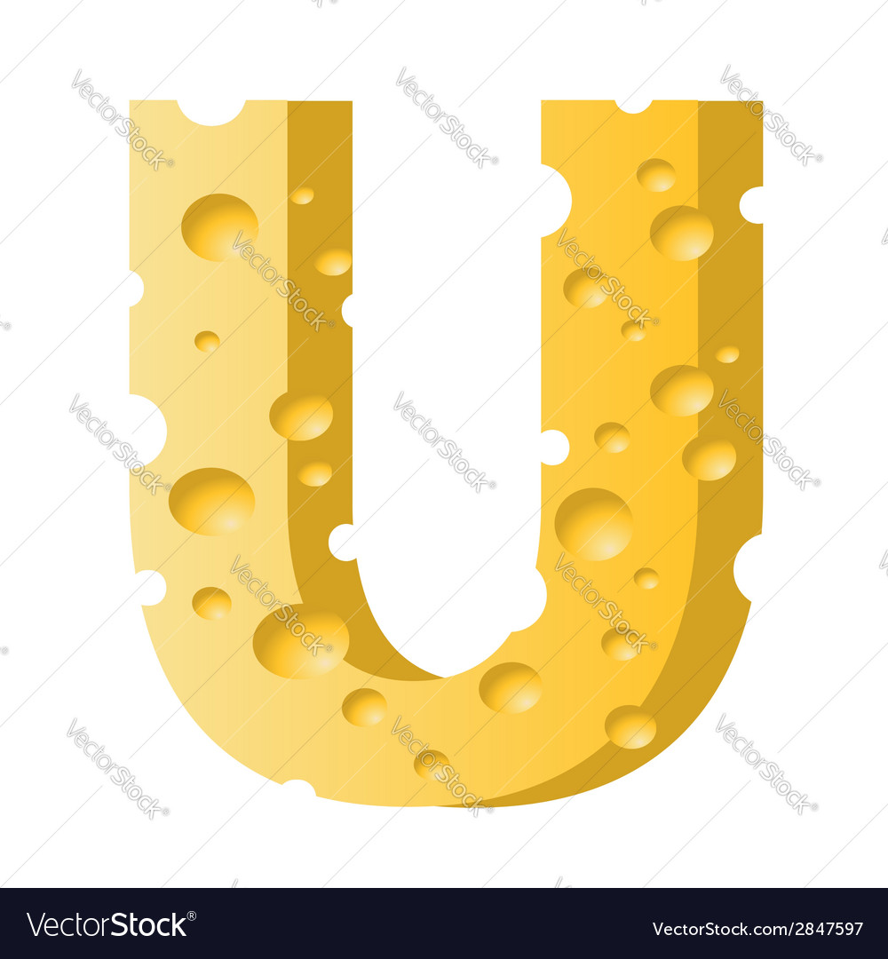 Cheese letter u vector | Price: 1 Credit (USD $1)