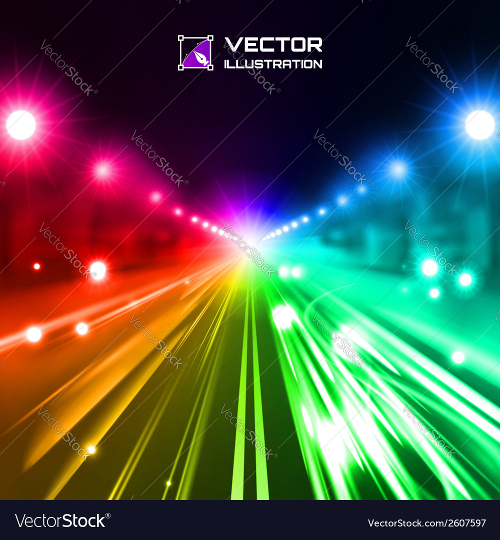 Colorful night road vector | Price: 1 Credit (USD $1)
