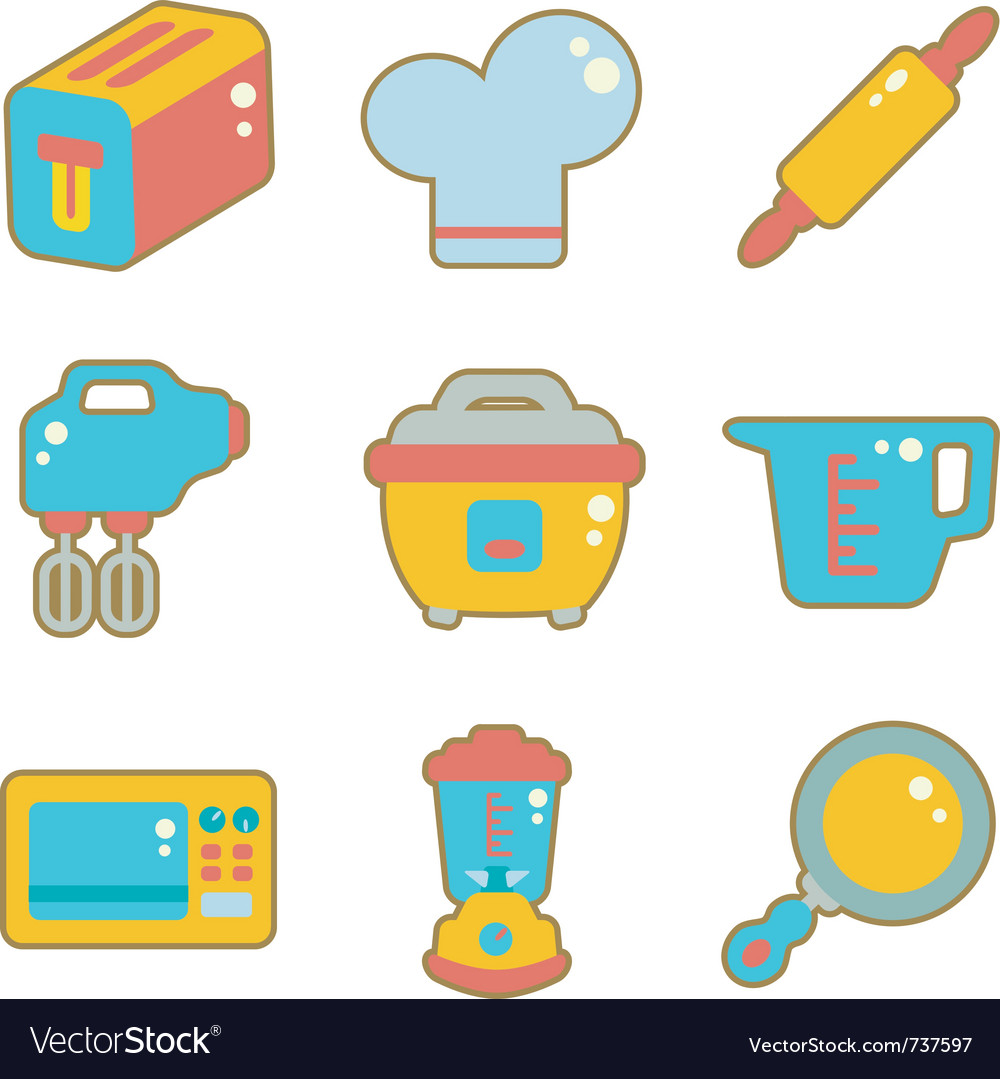 Cute icon kitchen appliances vector | Price: 1 Credit (USD $1)