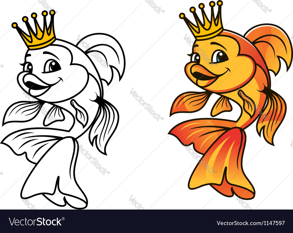 Golden fish in cartoon style vector | Price: 1 Credit (USD $1)