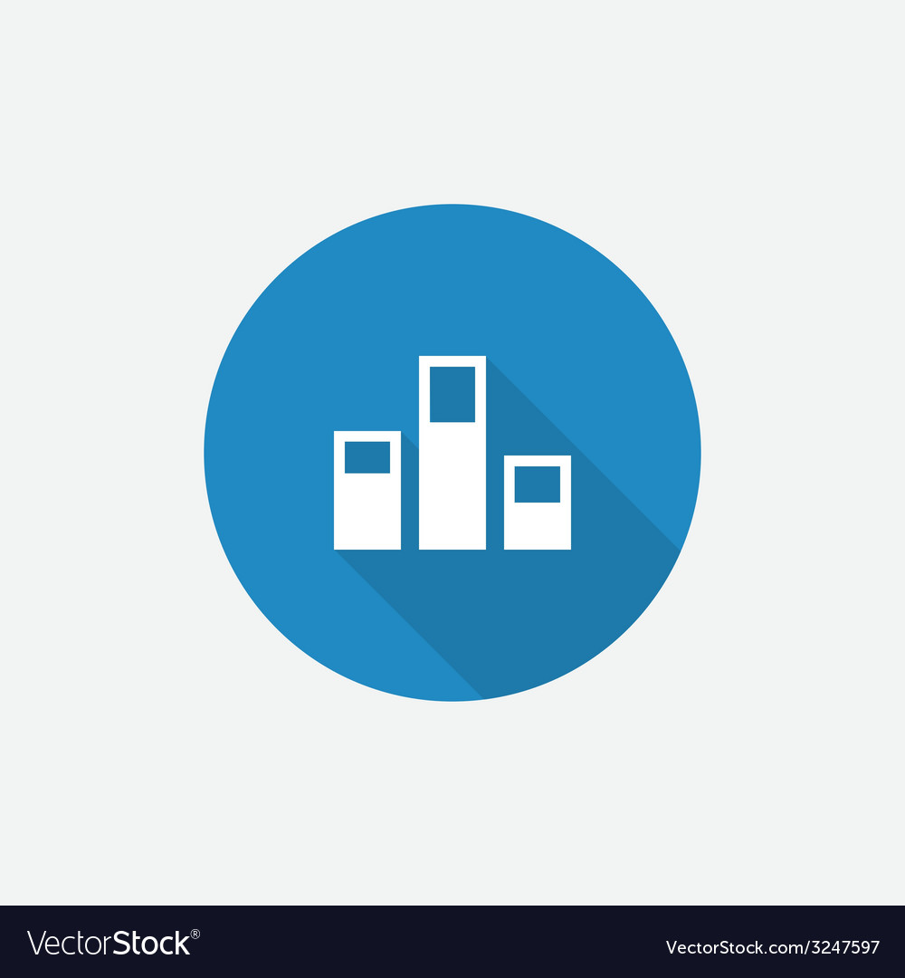 Levels flat blue simple icon with long shadow vector | Price: 1 Credit (USD $1)