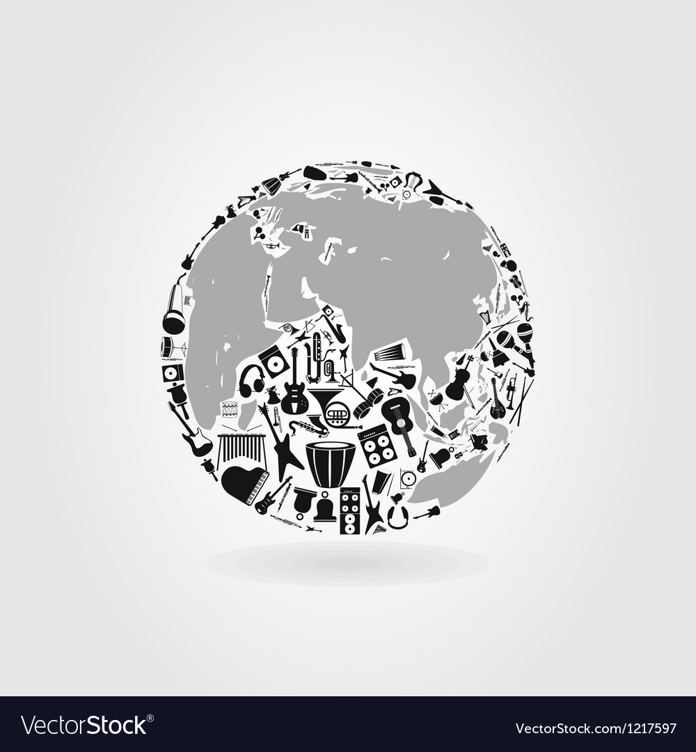 Music a planet vector | Price: 1 Credit (USD $1)