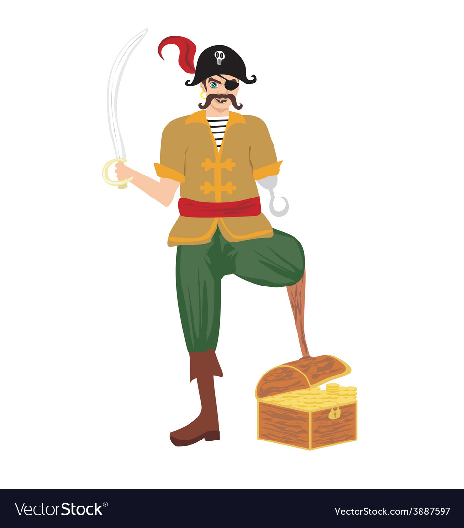 Pirate was standing holding a drawn sword vector | Price: 1 Credit (USD $1)