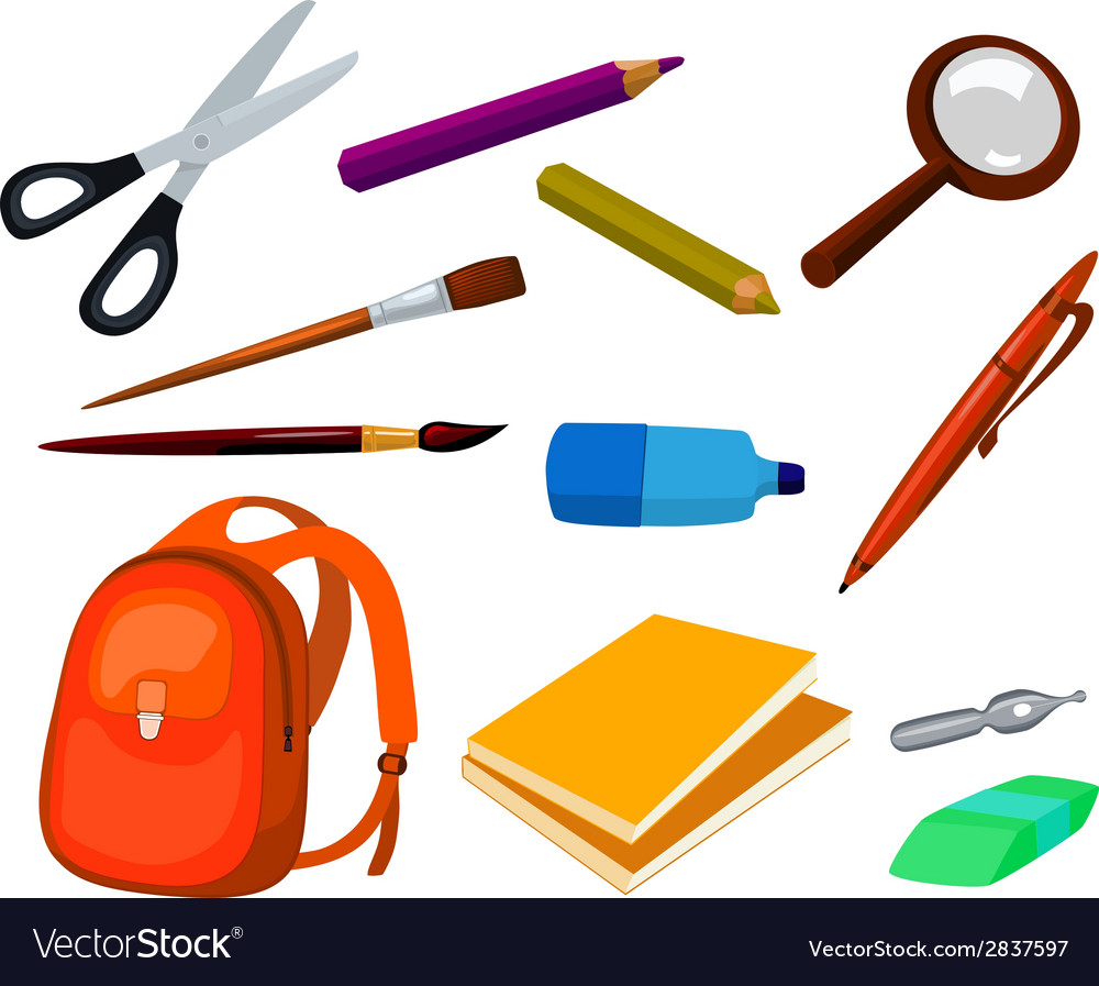 School education items set vector | Price: 1 Credit (USD $1)