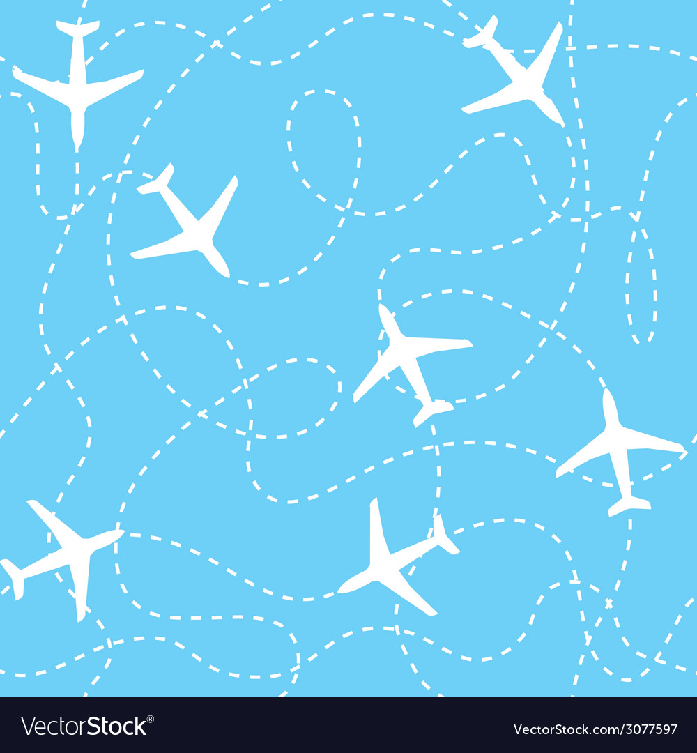 Seamless background airplanes flying with dashed vector | Price: 1 Credit (USD $1)