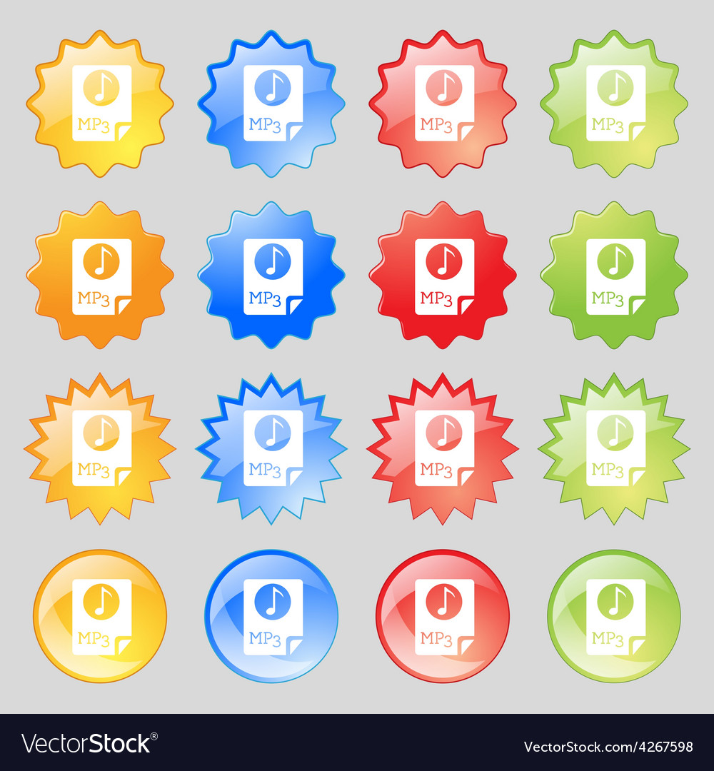 Audio mp3 file icon sign big set of 16 colorful vector | Price: 1 Credit (USD $1)
