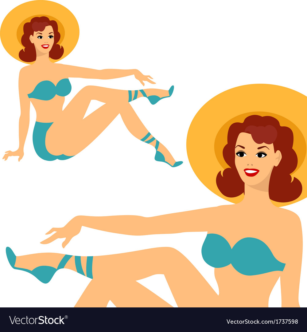 Beautiful pin up girl 1950s style in swimsuit vector | Price: 1 Credit (USD $1)