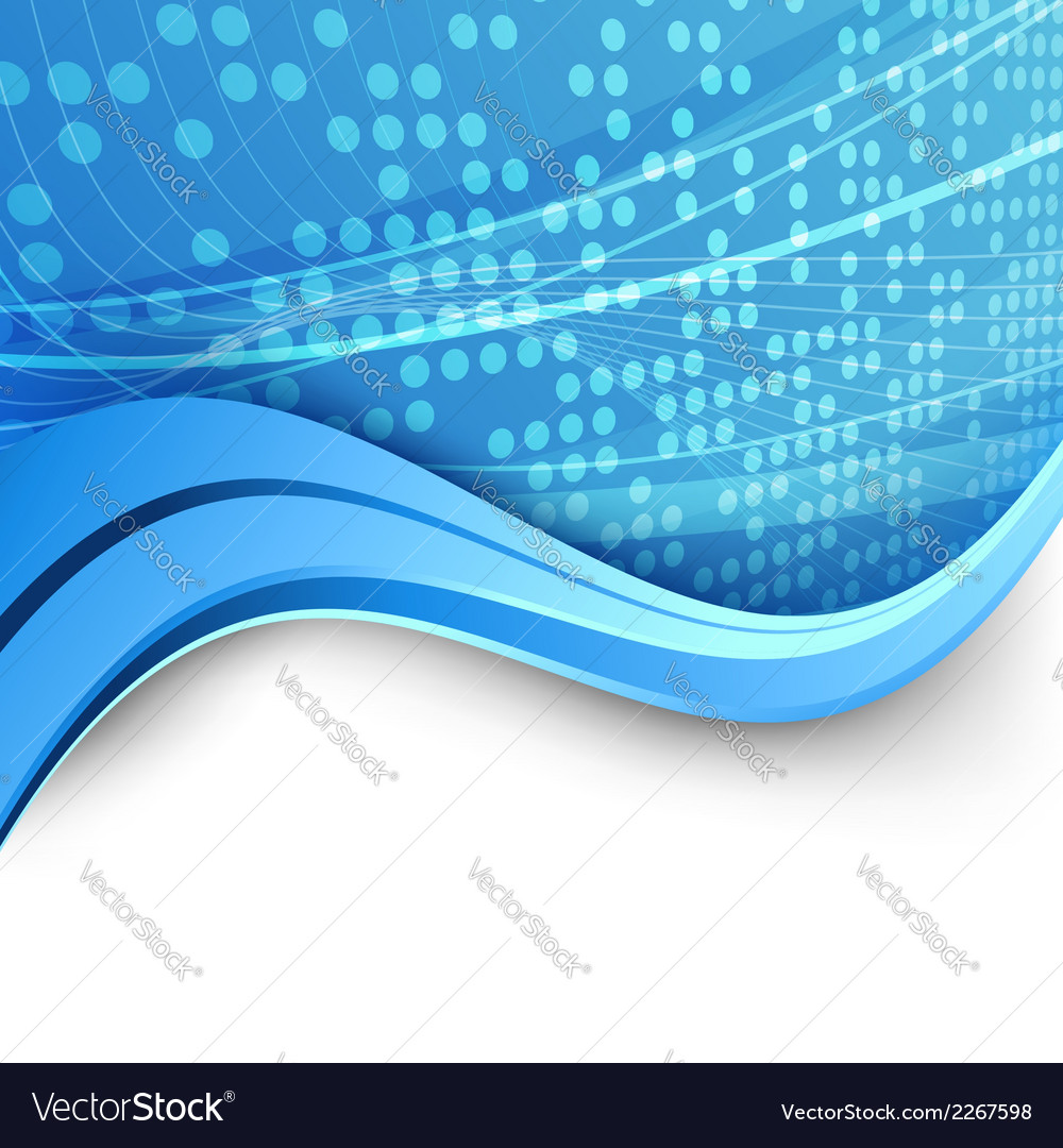 Bright blue wave dotted background lines vector | Price: 1 Credit (USD $1)