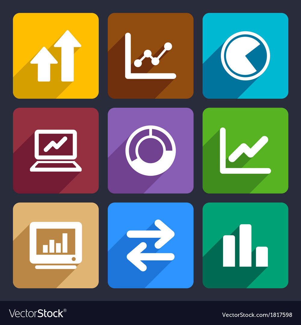 Business infographic flat icons set 34 vector | Price: 1 Credit (USD $1)