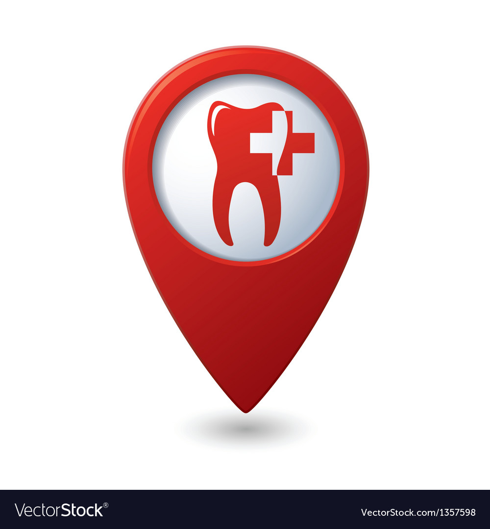 Dental clinic icon on red map pointer vector | Price: 1 Credit (USD $1)