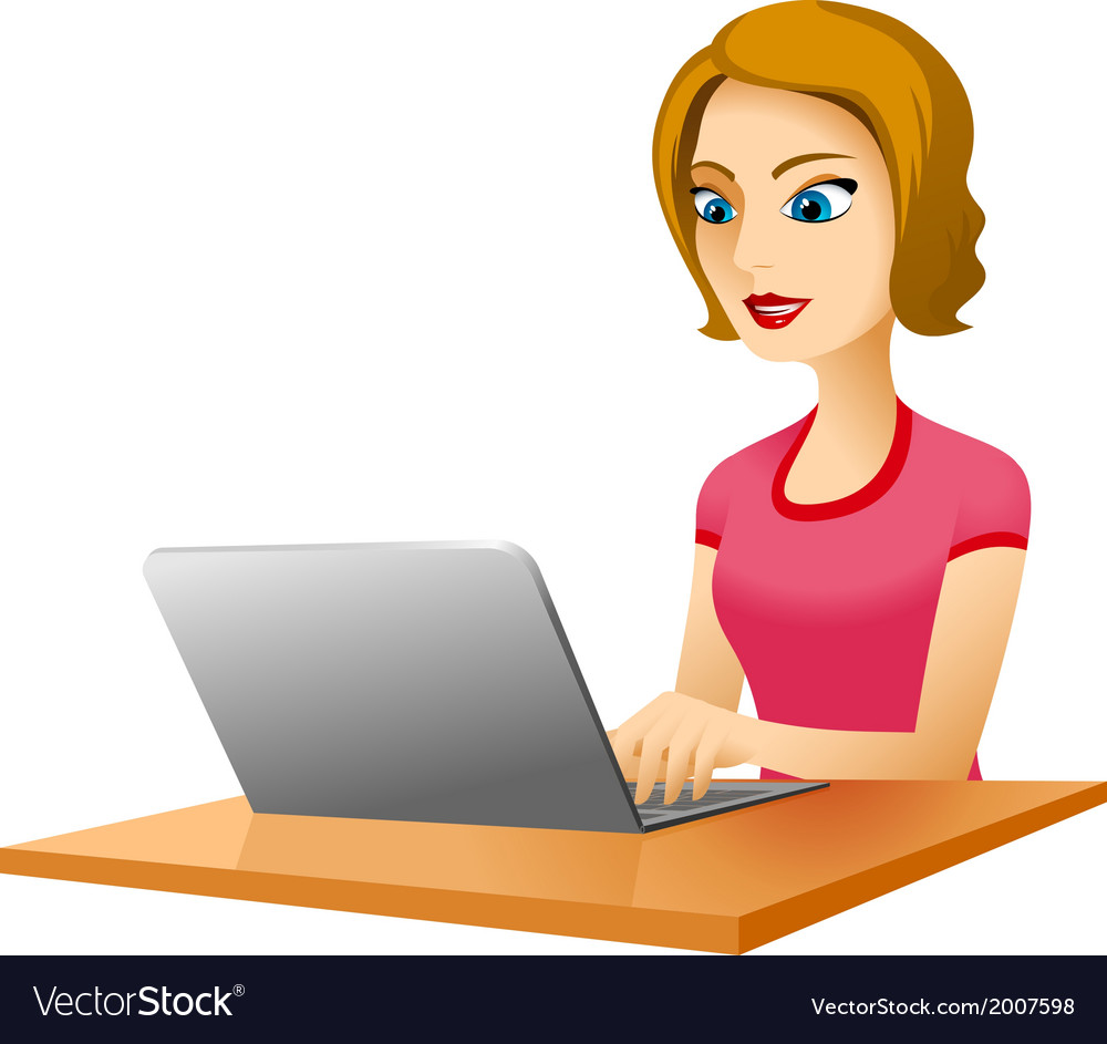 Girl table laptop vector | Price: 1 Credit (USD $1)