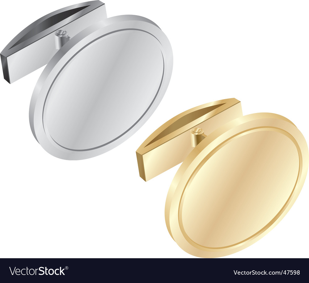 Gold and silver cuff links vector | Price: 1 Credit (USD $1)