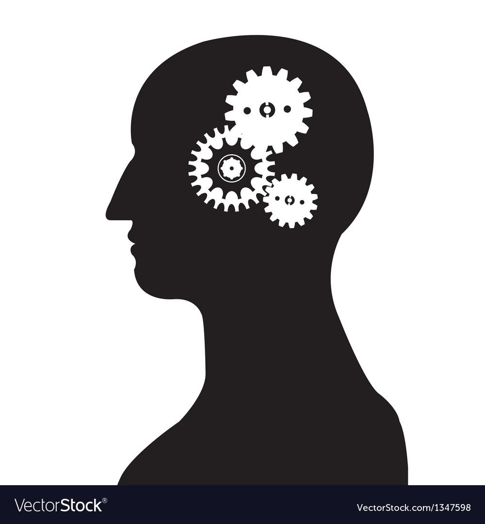 Head and brain gear silhouette vector | Price: 1 Credit (USD $1)