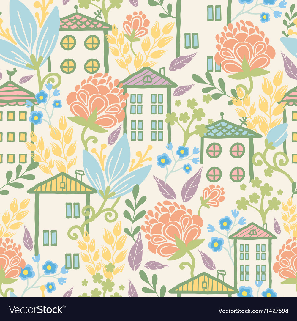 Houses among flowers seamless pattern background vector | Price: 1 Credit (USD $1)
