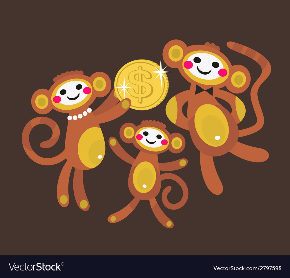 Monkey family with dollar vector | Price: 1 Credit (USD $1)