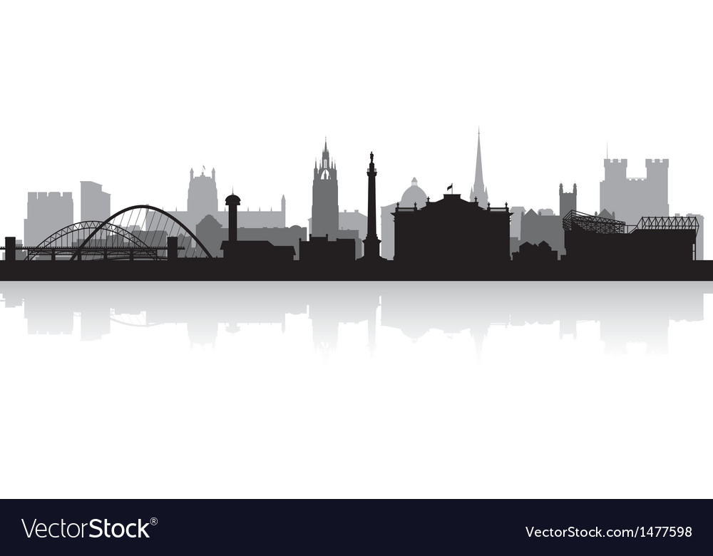 Newcastle city skyline silhouette vector | Price: 1 Credit (USD $1)