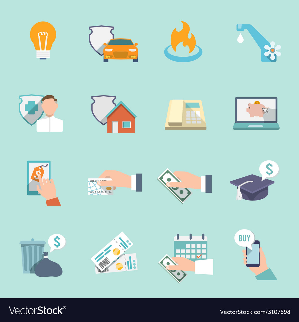 Pay bill icons flat set vector | Price: 1 Credit (USD $1)