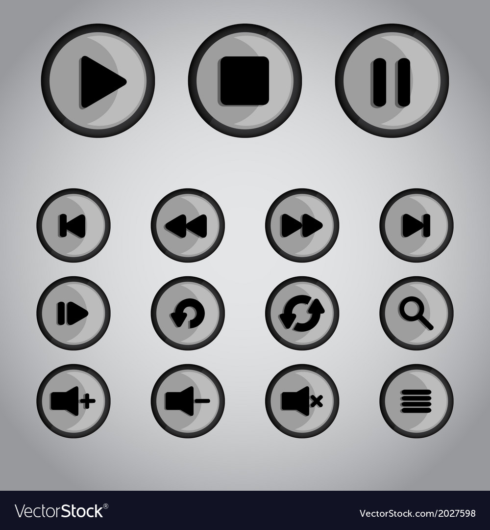 Player buttons vector | Price: 1 Credit (USD $1)