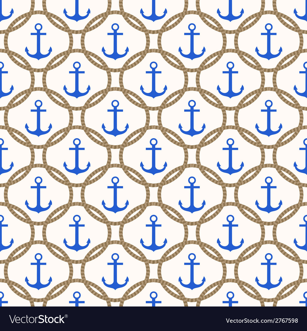Seamless nautical pattern with blue anchors vector | Price: 1 Credit (USD $1)