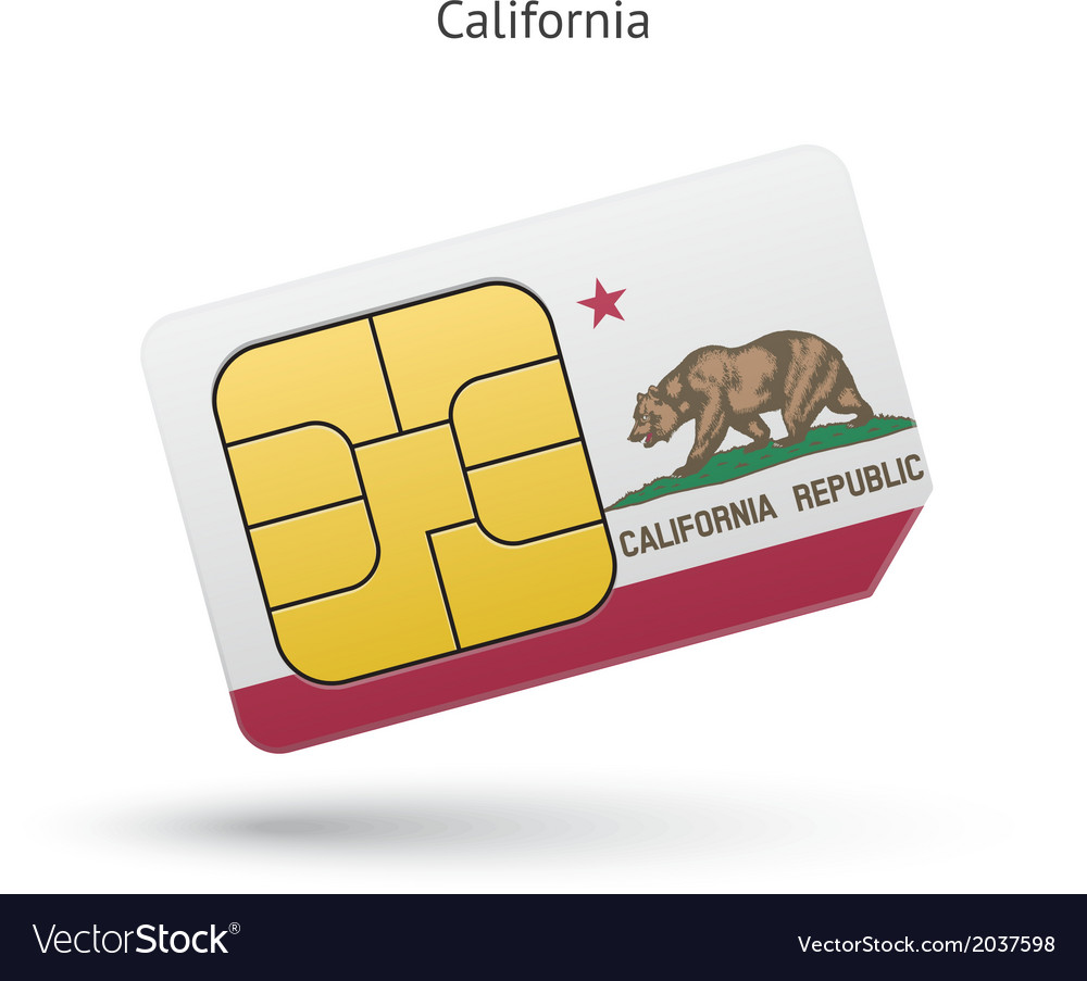State of california phone sim card with flag vector | Price: 1 Credit (USD $1)