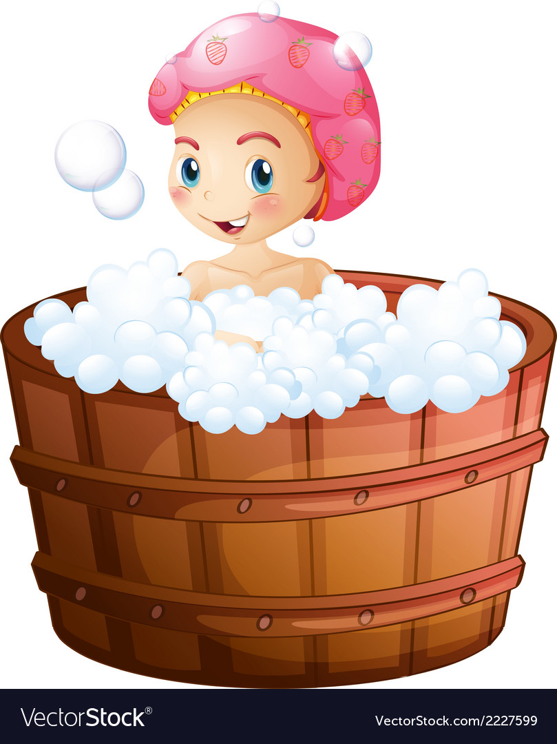 A smiling girl taking a bath vector | Price: 1 Credit (USD $1)