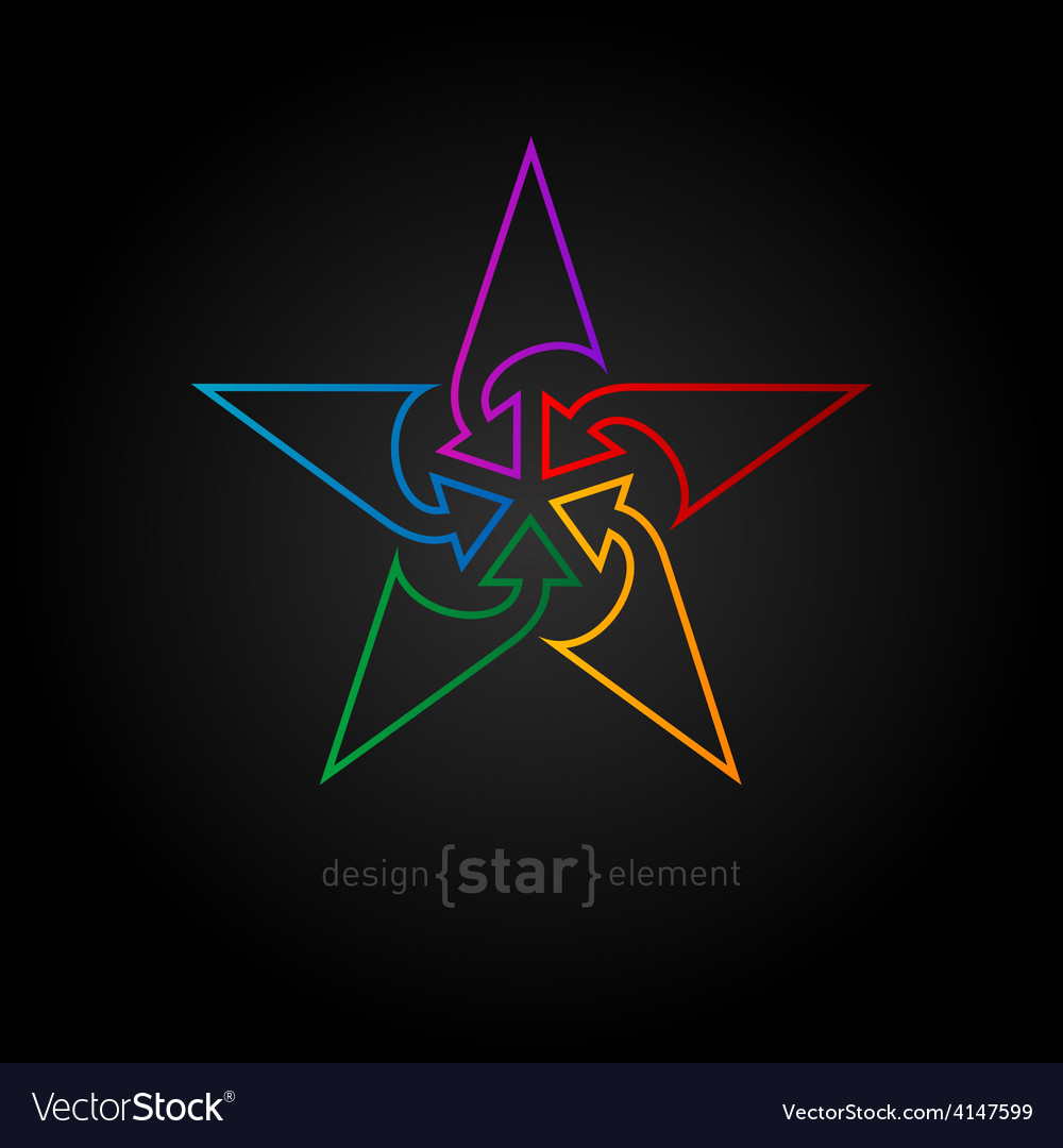 Abstract rainbow star design element made of thin vector | Price: 1 Credit (USD $1)
