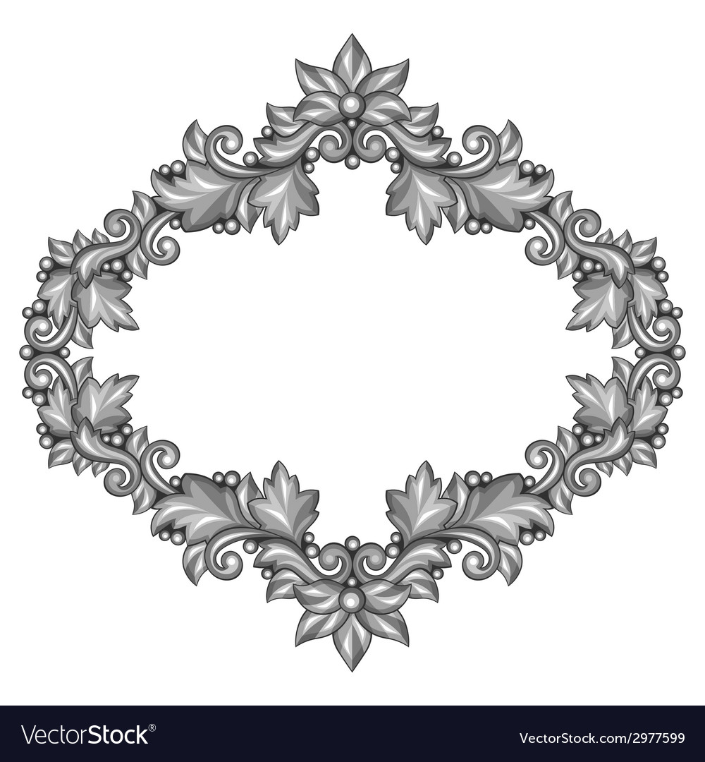 Baroque ornamental antique silver frame on white vector | Price: 1 Credit (USD $1)