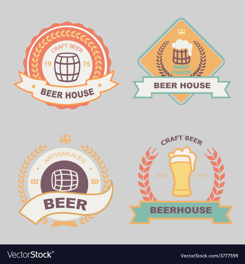Beer bub bar label design logo vector | Price: 1 Credit (USD $1)