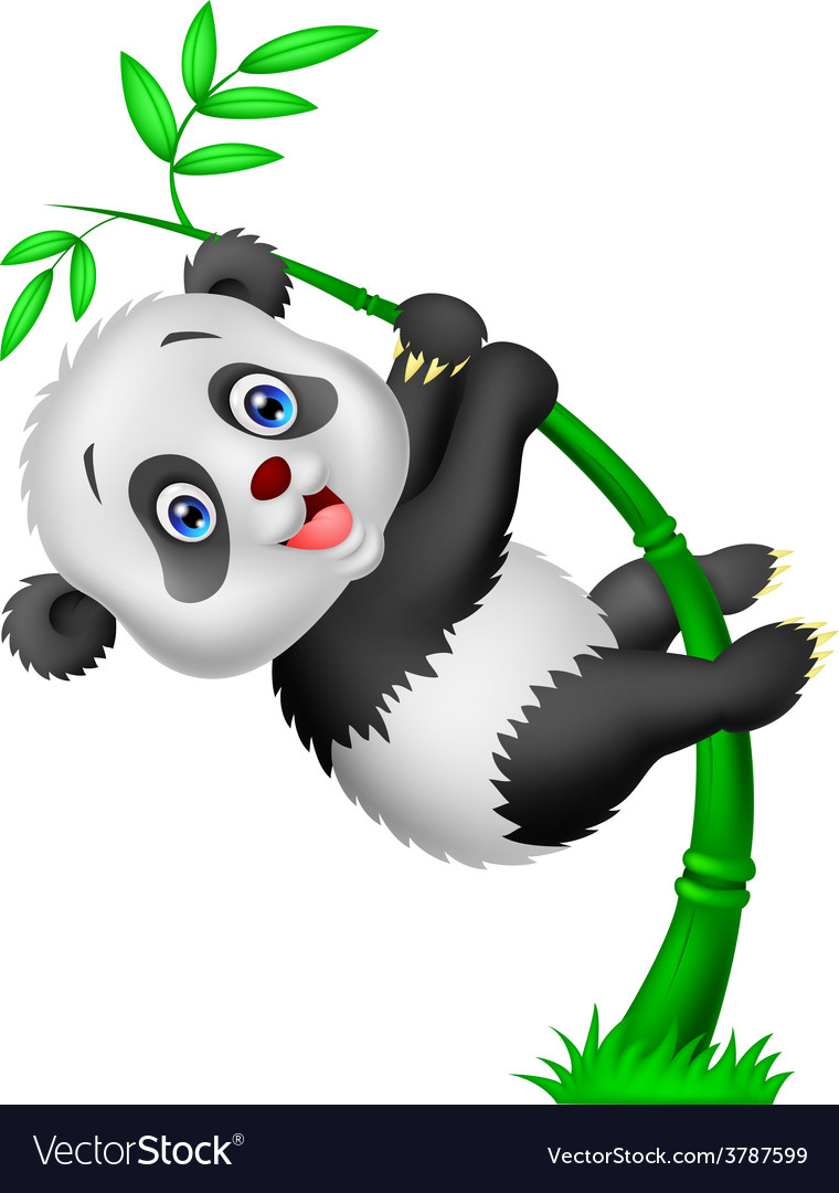 Cute panda cartoon climbing bamboo tree vector | Price: 1 Credit (USD $1)