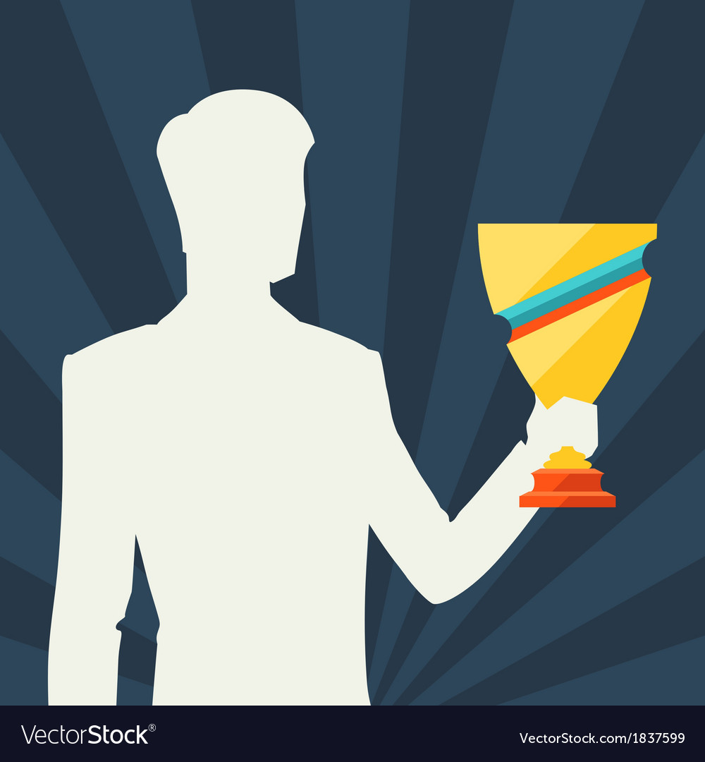 Silhouette of man holding prize cup vector | Price: 1 Credit (USD $1)