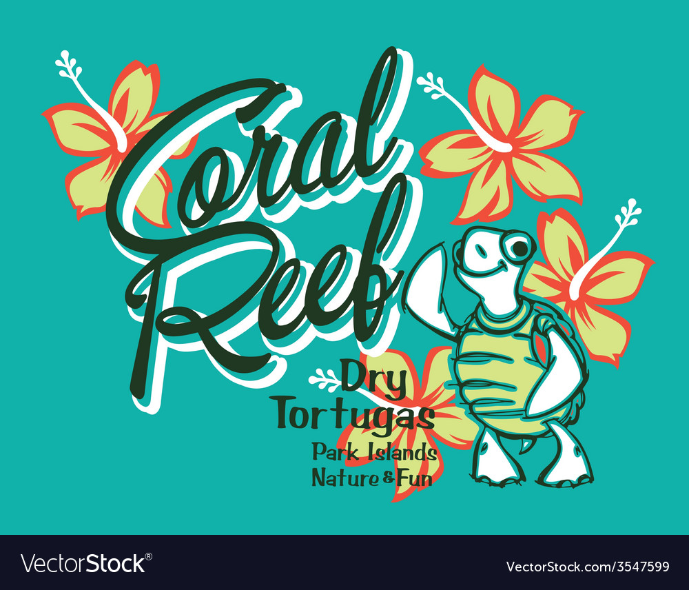Turtle island coral reef vector | Price: 1 Credit (USD $1)