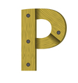 Wood letter p vector