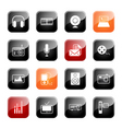 Mass media icons glossy series vector