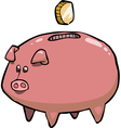 Pig piggy bank and coin vector