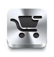 Square metal button - shopping cart remove icon vector