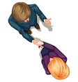 A topview of two people shaking their hands vector