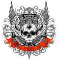 Skull punched by sword vector
