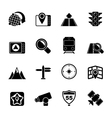 Silhouette map navigation and location icons vector