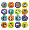 Tire service icon set vector