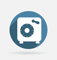 Bank vault circle blue icon with shadow vector