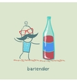 Bartender is a great bottle of wine vector