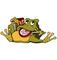 Frog with lollypop and book vector
